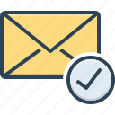 beforehand, check mark, already, message, email, envelope, selected icon