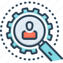 inspection, detective, investigation, magnification, survey, research, inquiry icon