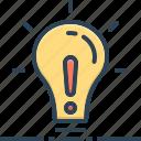 object, concept, creativity, except, exclude, lightbulb, denigration