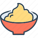 paste, cream, rubbing, ceramic, cheese, dope, bowl icon