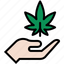 ganja, hand, marijuana, pot, weed icon