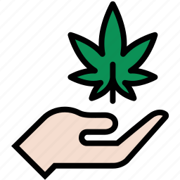 ganja, hand, marijuana, pot, weed icon