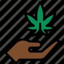 ganja, hand, leaf, marijuana, pot, weed icon