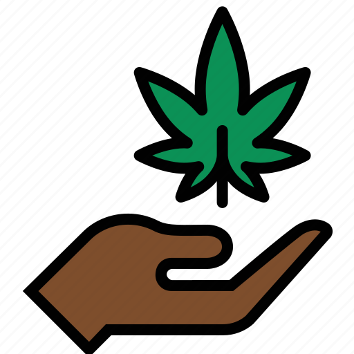 ganja, hand, leaf, marijuana, pot, weed icon