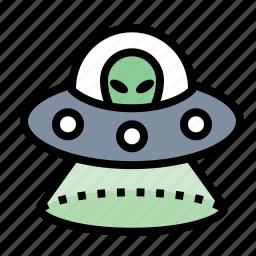 abduction, alien, little green men, space ship, ufo icon