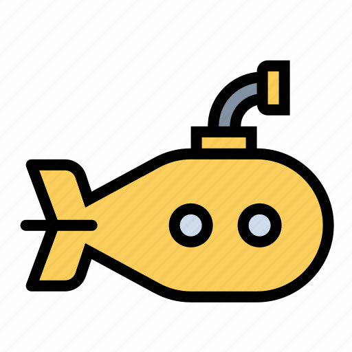 ocean, ship, sumbarine, yellow submarine icon