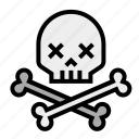 crossbones, death, skeleton, skull and bones, skull and crossbones icon