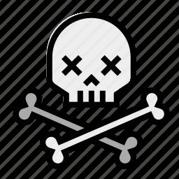 crossbones, death, skeleton, skull and bones, skull and crossbones icon