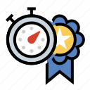 award, personal record, ribbon, stopwatch icon