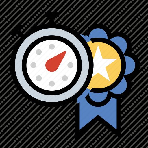 award, personal record, ribbon, stopwatch icon