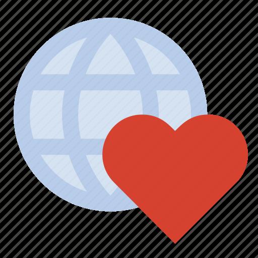 global, globe, heart, world peace icon