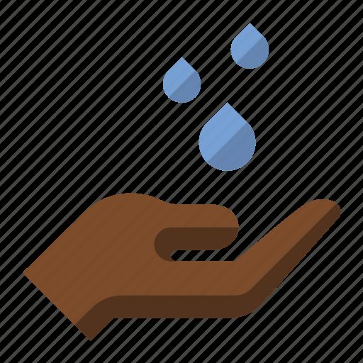 drops, hand, rain, rain drops, water icon