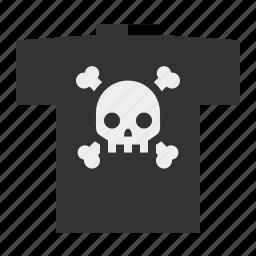 metal, skull and bones, skull and crossbones, t-shirt icon