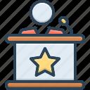 tribune, podium, conference, debate, platform, orator, broadcaster