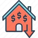 inexpensive, cheap, reduce, price, house, mortgage, low cost icon
