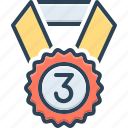 third, medal, win, achievement, award, position, ribbon