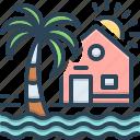 beach, beach house, coastal, house, maldives, resort, tree