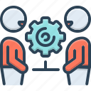 collaboration, cooperation, copartnership, participation, team, together icon