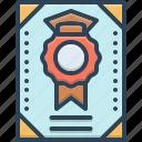 certificate, degree, diploma, graduate, muniment icon