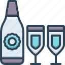 beverage, bottle, celebration, drink, glass, quencher, win icon