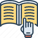 book, decipher, education, hand, learn, read, study icon