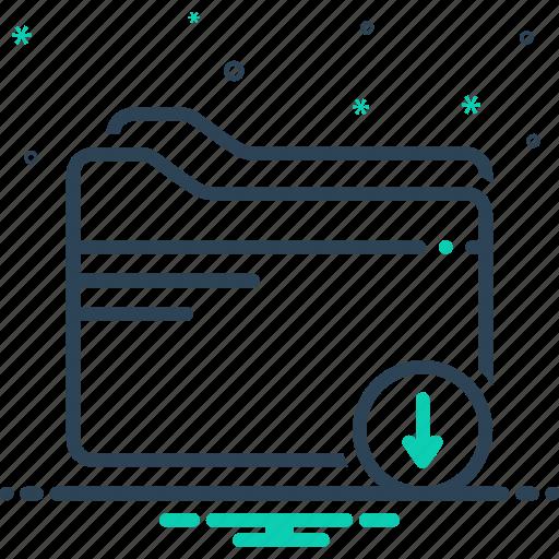 arrow, download, file, folder icon