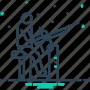 attack, draughtsman, firing, gun, man, rifleshot icon