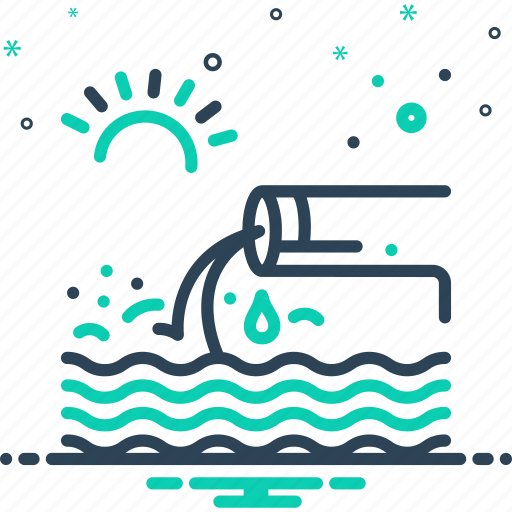 canalization, effluent, flow, sanitation, sewage, sewerage, stream icon