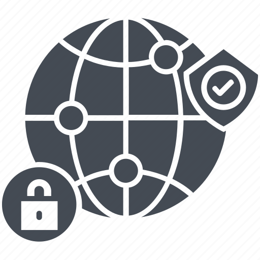 global security, lock, map, protection, security, shield icon