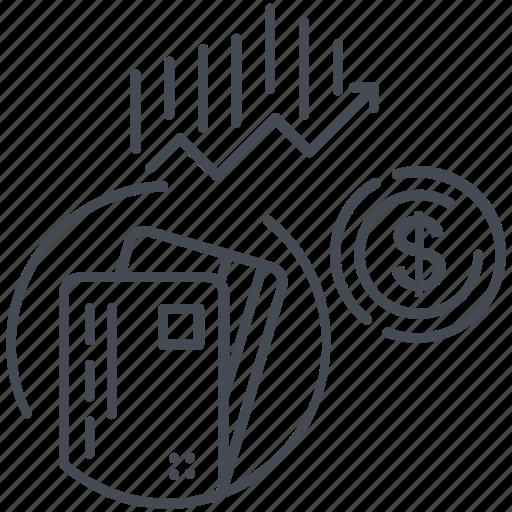 business, dollar, finance, graph icon