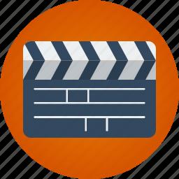 clapper, film, movie, video icon