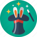 ears, hat, magic, magic hat, magic wand, magician, rabbit, rabbit ears, stars, wand icon
