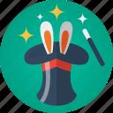 ears, hat, magic, magic hat, magic wand, magician, rabbit, rabbit ears, stars, wand icon