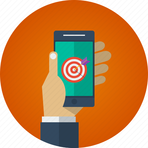 arrow, business, goal, hand, marketing, mobile, mobile marketing, target icon