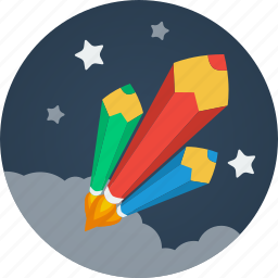 clouds, color pencils, design, designer, pen, pencil, pencils, rockets, space, stars, writer, writing icon