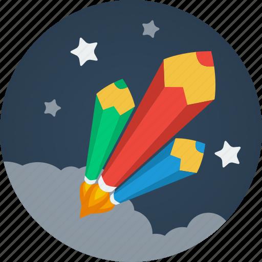 clouds, color pencils, design, designer, pen, pencil, pencils, rockets, space, stars, writer, writing icon