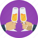 champagne, drink, glasses, hands, salute, toast