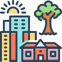 architecture, building, city, hometown, house, residential, tree