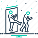 exclude, keep out, not here, out, withdraw icon