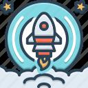 begin, launch, rocket, start, startup, technology icon