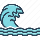 backwash, flood, ripple, surf, wave