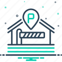 barrier, boundary, disallowance, inhibition, parking, parking barrier icon
