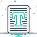 document, letter, script, text, typography icon