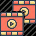 film, footage, footprint, stock, strip, video icon