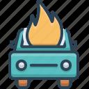 accident, auto, burning, car, explosion