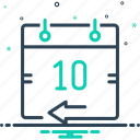 aloft, calendar, date, day, day before, yesterday icon