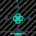 arrow, direction, frit, harmonize, join, modulate, unite icon