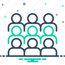 assemble, cluster, collect, congregate, crowd, flock, gather icon