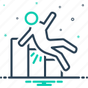 collapse, downfall, downhill, fall, slip, spill, tumble icon