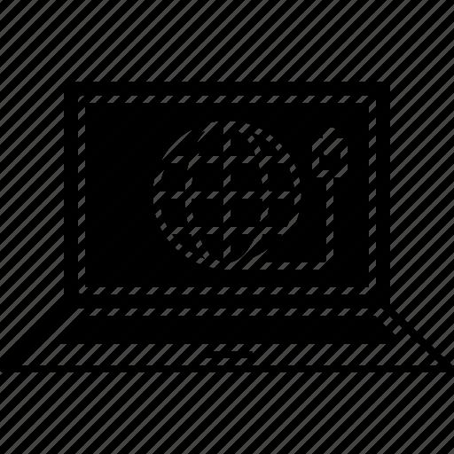 connection, internet, laptop, network, web icon